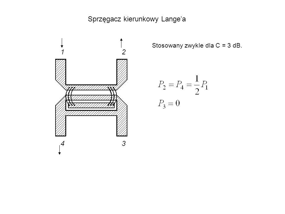 Sprzęgacz kierunkowy Langea Stosowany zwykle dla C = 3 dB.