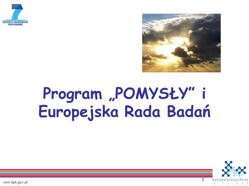 www.kpk.gov.pl 1 Program POMYSŁY i Europejska Rada Badań