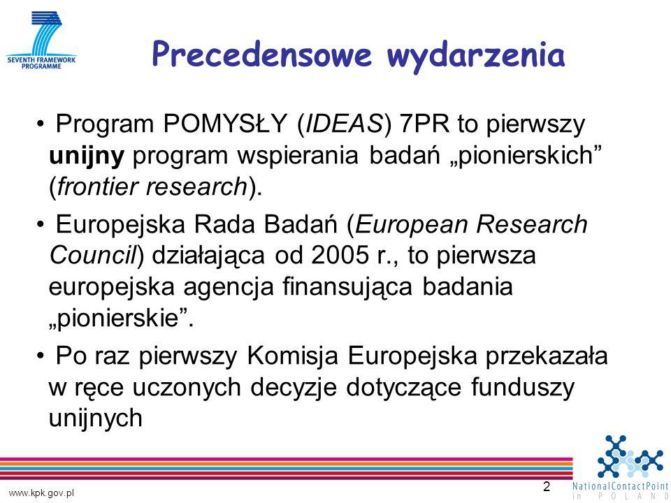 www.kpk.gov.pl 2 Program POMYSŁY (IDEAS) 7PR to pierwszy unijny program wspierania badań pionierskich (frontier research).