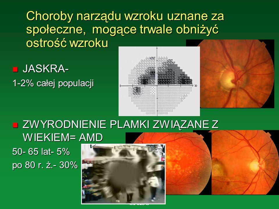 SPKSO Choroby narządu wzroku uznane za społeczne, mogące trwale obniżyć ostrość wzroku n JASKRA- 1-2% całej populacji n ZWYRODNIENIE PLAMKI ZWIĄZANE Z