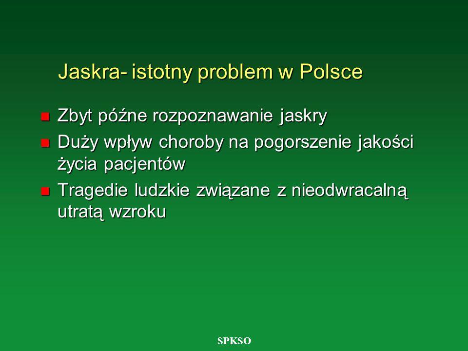 SPKSO Jaskra- istotny problem w Polsce n Zbyt późne rozpoznawanie jaskry n Duży wpływ choroby na pogorszenie jakości życia pacjentów n Tragedie ludzki