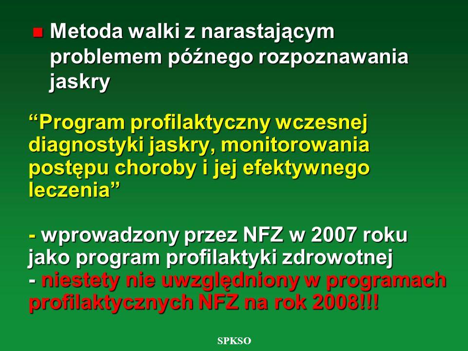 SPKSO Program profilaktyczny wczesnej diagnostyki jaskry, monitorowania postępu choroby i jej efektywnego leczenia - wprowadzony przez NFZ w 2007 roku