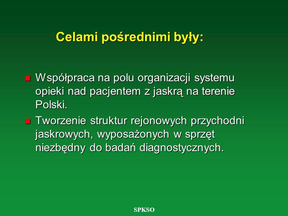 SPKSO Celami pośrednimi były: n Współpraca na polu organizacji systemu opieki nad pacjentem z jaskrą na terenie Polski. n Tworzenie struktur rejonowyc