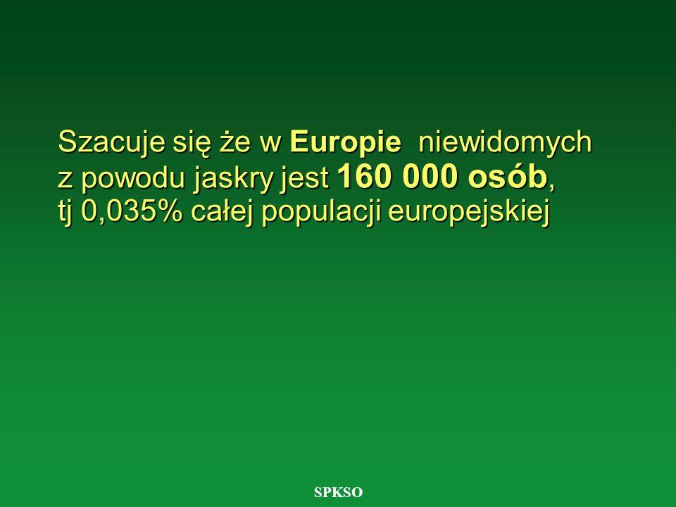 SPKSO Brak jest dokładnych danych epidemiologicznych na temat liczby osób niewidomych lub słabo widzących z powodu jaskry w Polsce.