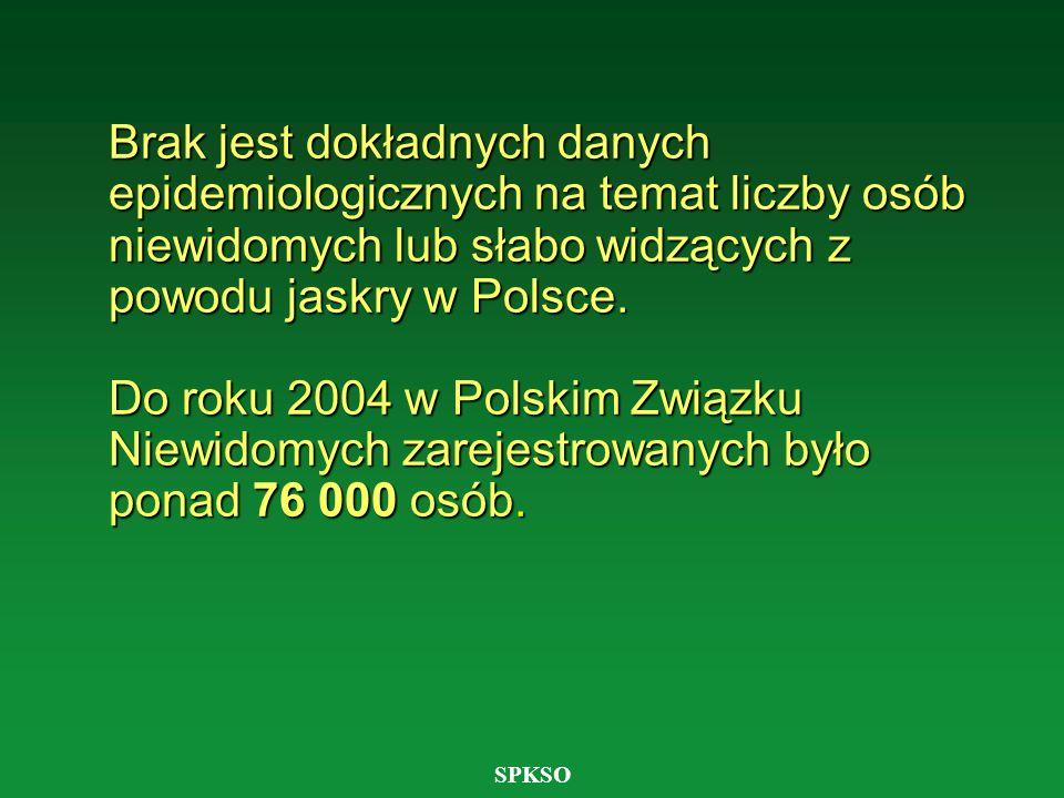 SPKSO Brak jest dokładnych danych epidemiologicznych na temat liczby osób niewidomych lub słabo widzących z powodu jaskry w Polsce. Do roku 2004 w Pol