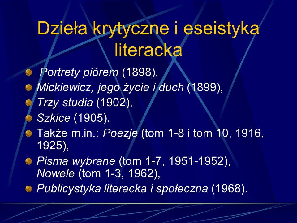 Zbiory opowiadań realistyczno- psychologicznych Cztery nowele (1888), Moi znajomi (1890), Na drodze (1893), Ludzie i rzeczy (1898), Na normandzkim brz