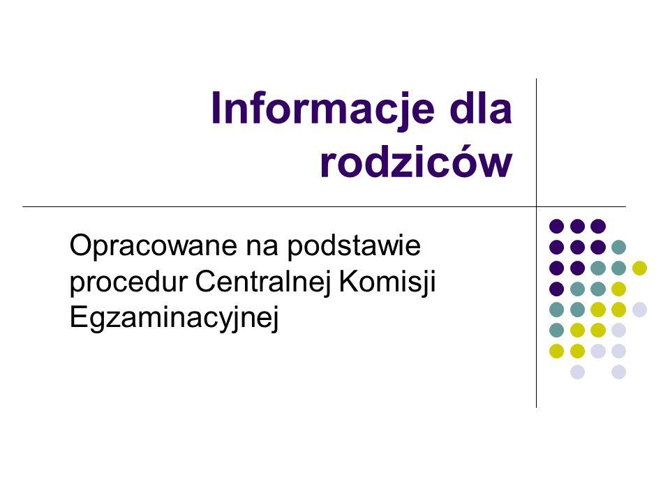 Informacje dla rodziców Opracowane na podstawie procedur Centralnej Komisji Egzaminacyjnej