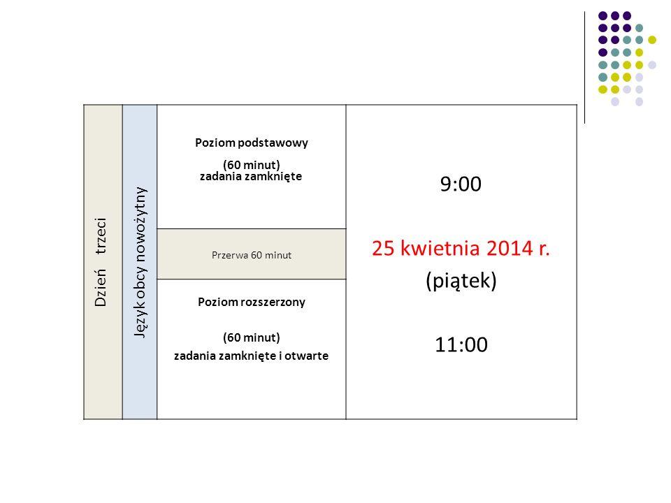 Dzień trzeci Język obcy nowożytny Poziom podstawowy (60 minut) zadania zamknięte 9:00 25 kwietnia 2014 r. (piątek) 11:00 Przerwa 60 minut Poziom rozsz