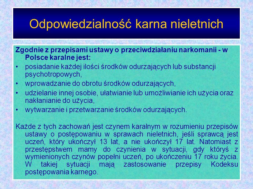 Odpowiedzialność karna nieletnich Zgodnie z przepisami ustawy o przeciwdziałaniu narkomanii - w Polsce karalne jest: posiadanie każdej ilości środków