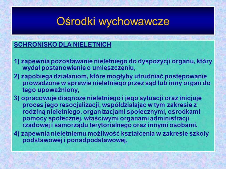 Ośrodki wychowawcze SCHRONISKO DLA NIELETNICH 1) zapewnia pozostawanie nieletniego do dyspozycji organu, który wydał postanowienie o umieszczeniu, 2)