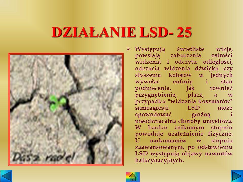 LSD-25 Narkotyk ten rozprowadzany jest w postaci płynnej lub białego krystalicznego proszku. W odróżnieniu od innych narkotyków nie posiada smaku jak
