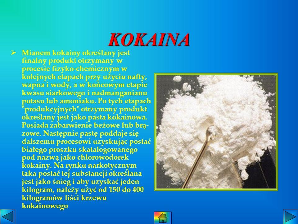 KOKAINA Mianem kokainy określany jest finalny produkt otrzymany w procesie fizyko-chemicznym w kolejnych etapach przy użyciu nafty, wapna i wody, a w końcowym etapie kwasu siarkowego i nadmanganianu potasu lub amoniaku.