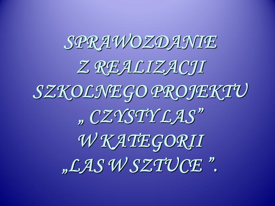 W marcu 2010 roku przystąpiliśmy do VI edycji Ogólnopolskiego Konkursu Czysty Las w kategorii konkursowej Las w sztuce.