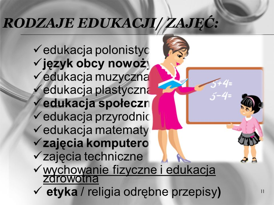 RODZAJE EDUKACJI/ ZAJĘĆ: edukacja polonistyczna język obcy nowożytny edukacja muzyczna edukacja plastyczna edukacja społeczna edukacja przyrodnicza ed
