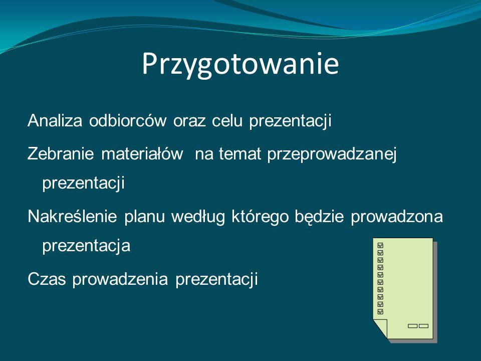 Przygotowanie Analiza odbiorców oraz celu prezentacji Zebranie materiałów na temat przeprowadzanej prezentacji Nakreślenie planu według którego będzie prowadzona prezentacja Czas prowadzenia prezentacji