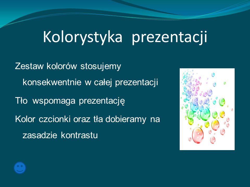 Kolorystyka prezentacji Zestaw kolorów stosujemy konsekwentnie w całej prezentacji Tło wspomaga prezentację Kolor czcionki oraz tła dobieramy na zasad