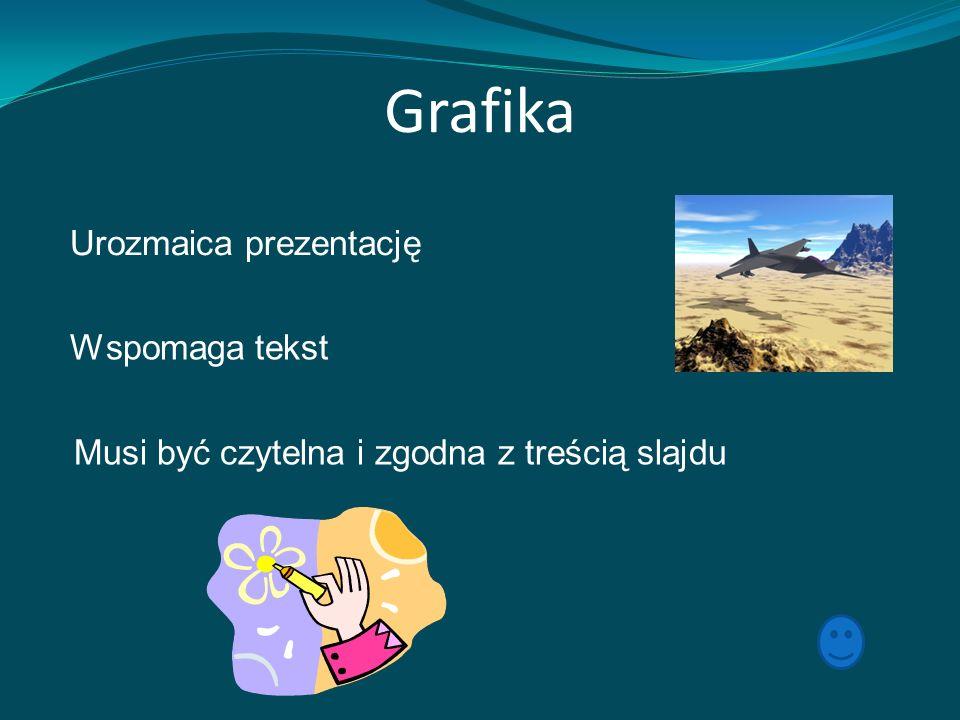 Grafika Urozmaica prezentację Wspomaga tekst Musi być czytelna i zgodna z treścią slajdu