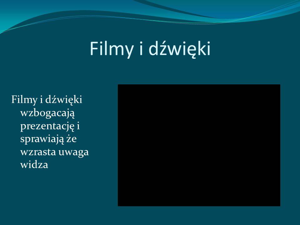 Filmy i dźwięki Filmy i dźwięki wzbogacają prezentację i sprawiają że wzrasta uwaga widza
