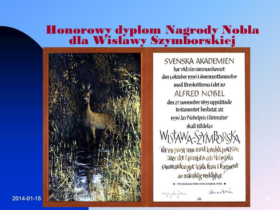 2014-01-1516 Honorowy dyplom Nagrody Nobla dla Wisławy Szymborskiej
