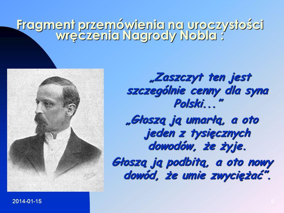 2014-01-155 Fragment przemówienia na uroczystości wręczenia Nagrody Nobla : Fragment przemówienia na uroczystości wręczenia Nagrody Nobla : Zaszczyt t