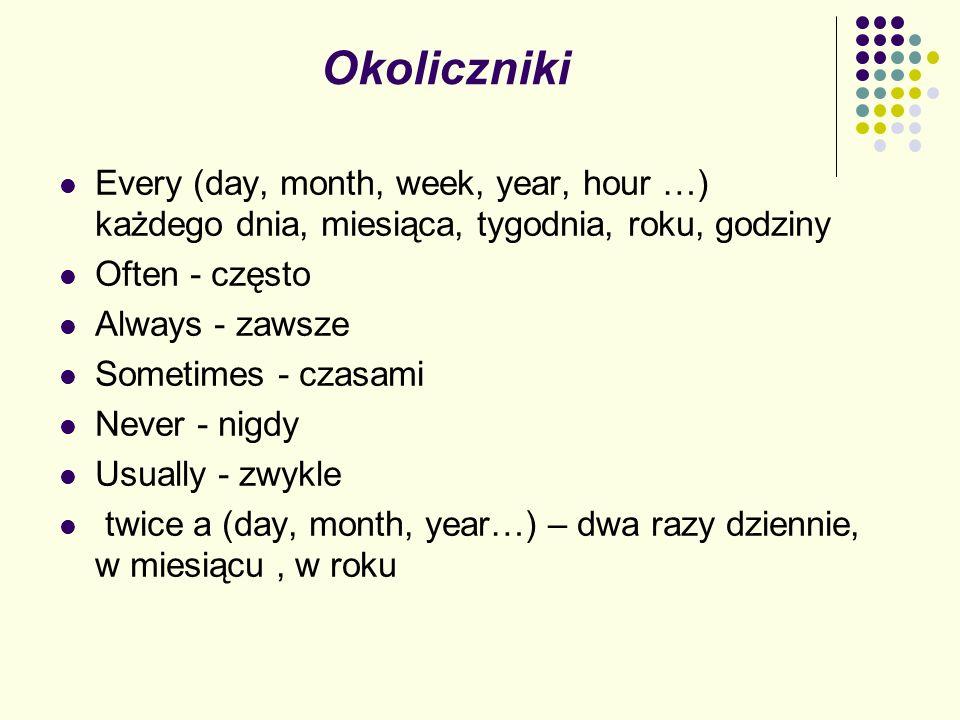 Okoliczniki Every (day, month, week, year, hour …) każdego dnia, miesiąca, tygodnia, roku, godziny Often - często Always - zawsze Sometimes - czasami