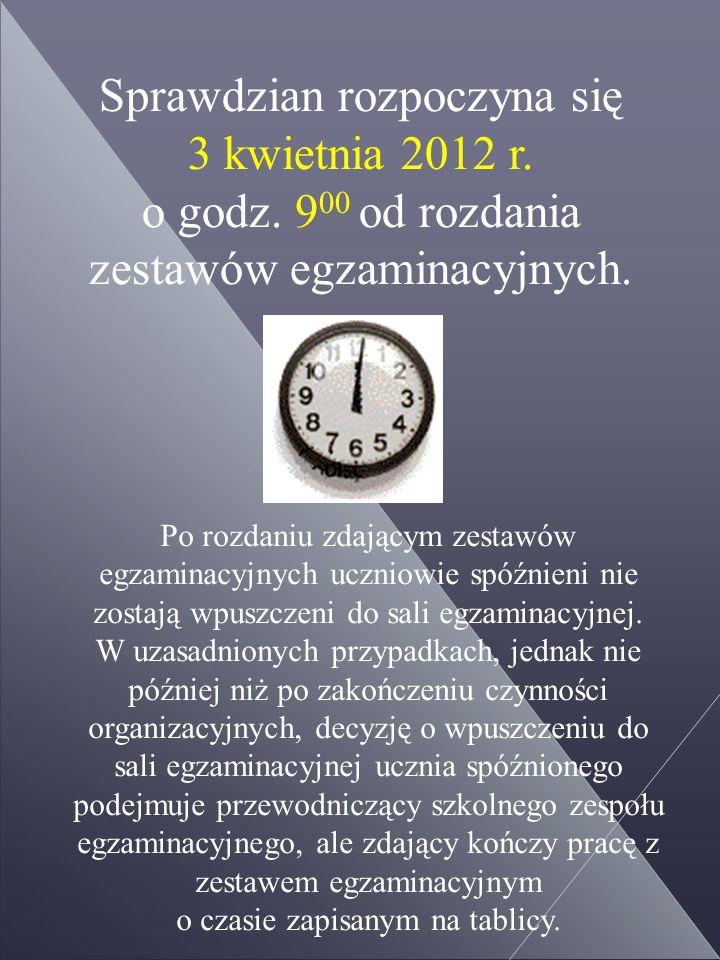 Sprawdzian rozpoczyna się 3 kwietnia 2012 r. o godz.