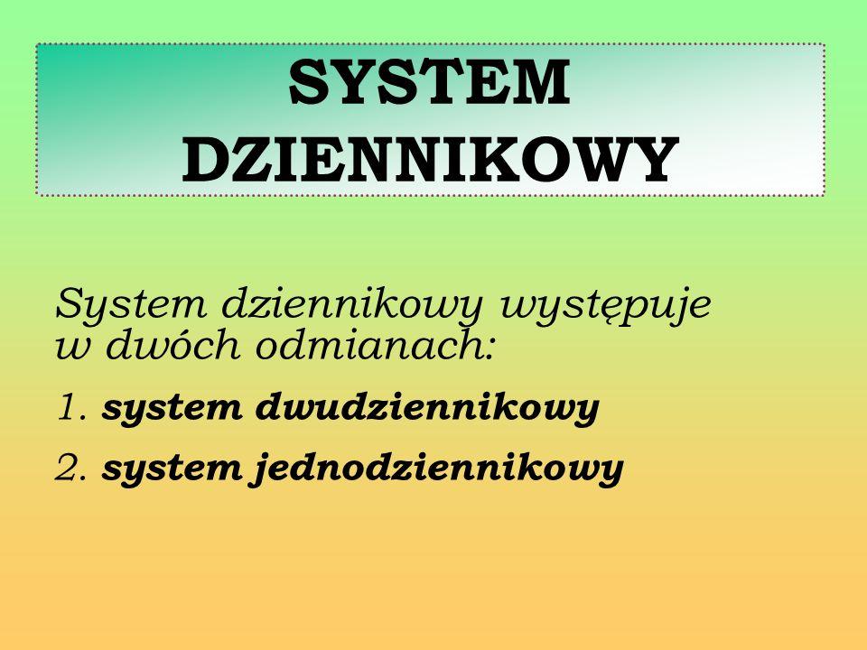 SYSTEM DZIENNIKOWY System dziennikowy występuje w dwóch odmianach: 1. system dwudziennikowy 2. system jednodziennikowy
