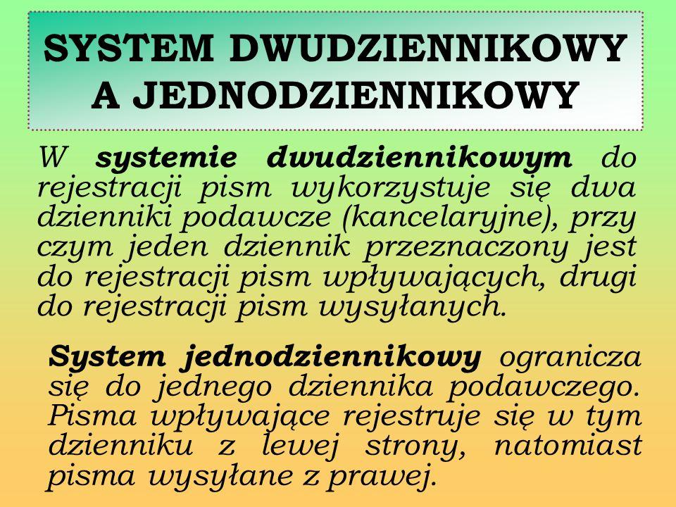 SYSTEM JEDNODZIENNIKOWY Rejestrując pisma w systemie jedno- dziennikowym należy kierować się zasadą, aby po zarejestrowaniu po lewej stronie pisma przychodzącego, po prawej stronie na tej samej wysokości zarejestrować jedynie pismo wychodzące, które jest odpowiedzią w tej samej sprawie.