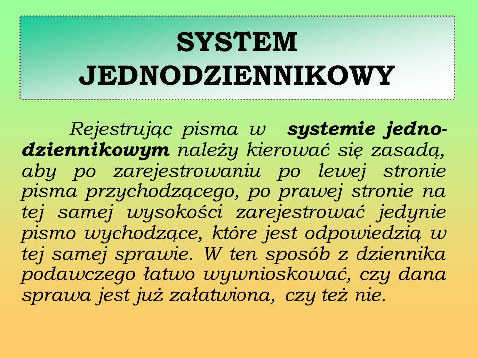 SYSTEM JEDNODZIENNIKOWY Rejestrując pisma w systemie jedno- dziennikowym należy kierować się zasadą, aby po zarejestrowaniu po lewej stronie pisma prz