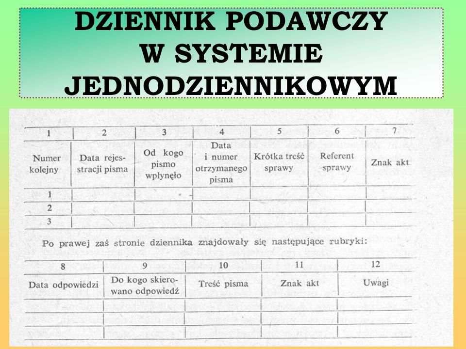 W systemie kancelaryjnym dziennikowym podstawową rolę odgrywa numer kolejny pod którym rejestrowane jest pismo przychodzące lub wychodzące.