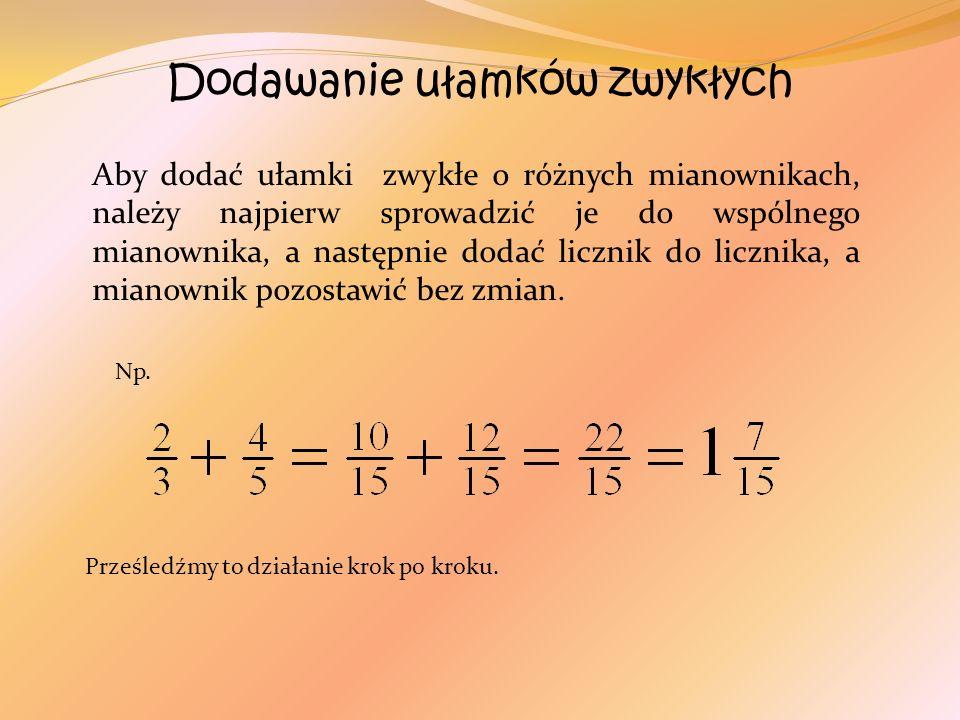Dodawanie ułamków zwykłych Aby dodać ułamki zwykłe o różnych mianownikach, należy najpierw sprowadzić je do wspólnego mianownika, a następnie dodać li