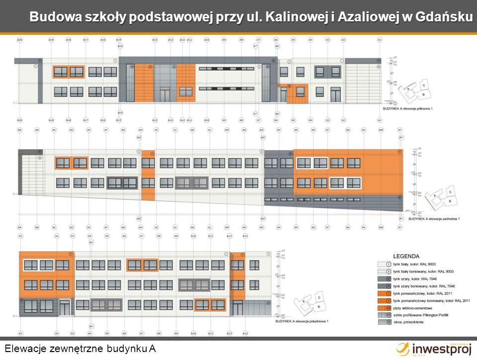 Budowa szkoły podstawowej przy ul. Kalinowej i Azaliowej w Gdańsku Elewacje zewnętrzne budynku A