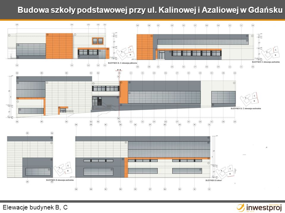 Budowa szkoły podstawowej przy ul. Kalinowej i Azaliowej w Gdańsku Elewacje budynek B, C