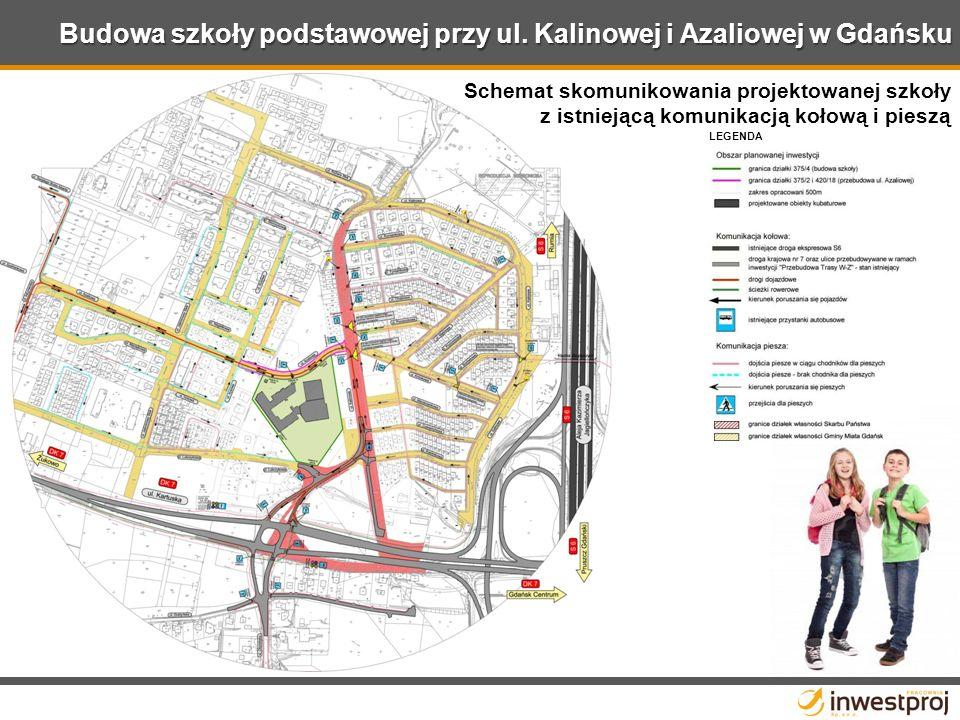Schemat skomunikowania projektowanej szkoły z istniejącą komunikacją kołową i pieszą LEGENDA