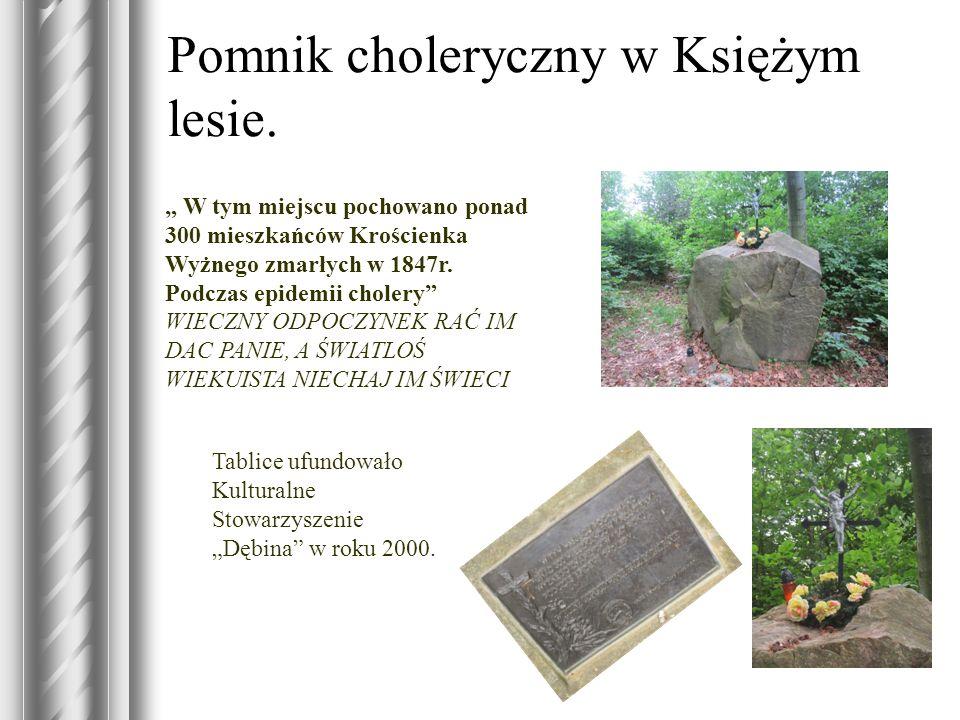 Pomnik choleryczny w Księżym lesie. W tym miejscu pochowano ponad 300 mieszkańców Krościenka Wyżnego zmarłych w 1847r. Podczas epidemii cholery WIECZN