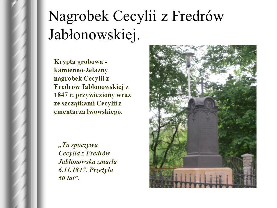 Nagrobek Cecylii z Fredrów Jabłonowskiej. Krypta grobowa - kamienno-żelazny nagrobek Cecylii z Fredrów Jabłonowskiej z 1847 r. przywieziony wraz ze sz