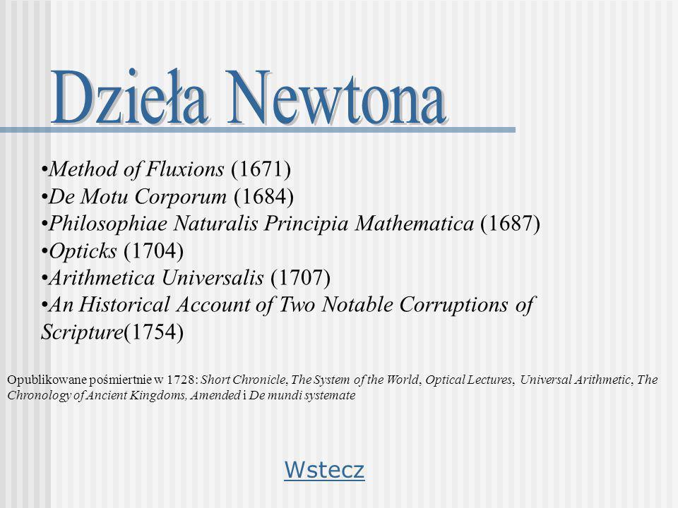 Method of Fluxions (1671) De Motu Corporum (1684) Philosophiae Naturalis Principia Mathematica (1687) Opticks (1704) Arithmetica Universalis (1707) An