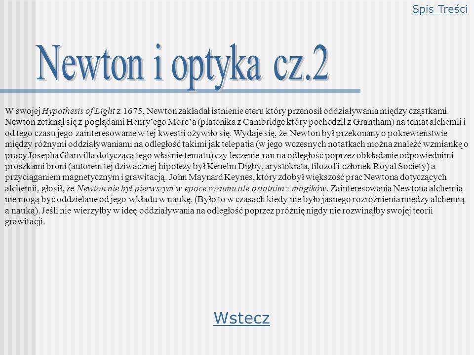 W swojej Hypothesis of Light z 1675, Newton zakładał istnienie eteru który przenosił oddziaływania między cząstkami. Newton zetknął się z poglądami He