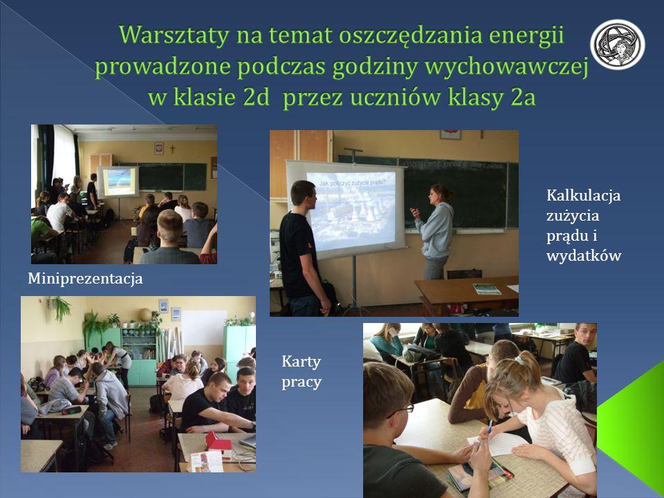 Miniprezentacja Kalkulacja zużycia prądu i wydatków Karty pracy