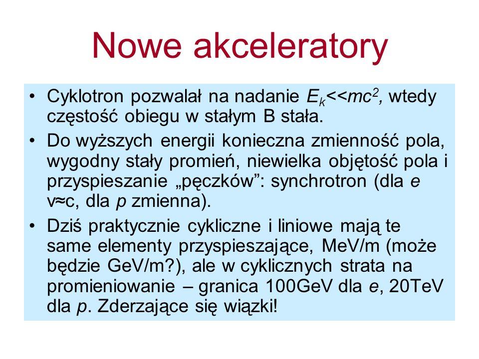 Nowe akceleratory Cyklotron pozwalał na nadanie E k <<mc 2, wtedy częstość obiegu w stałym B stała. Do wyższych energii konieczna zmienność pola, wygo
