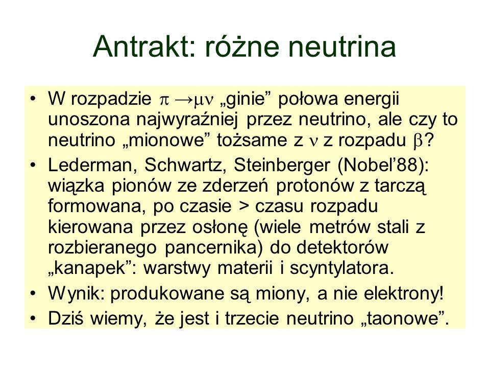 Antrakt: różne neutrina W rozpadzie ginie połowa energii unoszona najwyraźniej przez neutrino, ale czy to neutrino mionowe tożsame z z rozpadu ? Leder