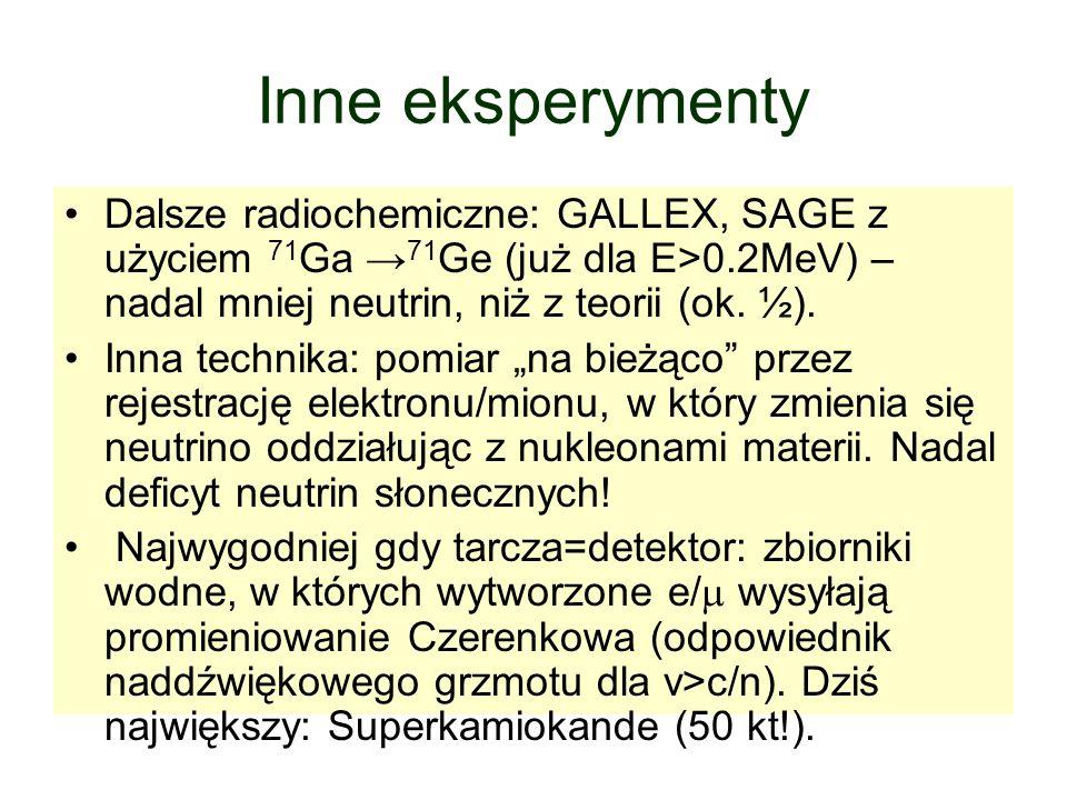 Inne eksperymenty Dalsze radiochemiczne: GALLEX, SAGE z użyciem 71 Ga 71 Ge (już dla E>0.2MeV) – nadal mniej neutrin, niż z teorii (ok. ½). Inna techn