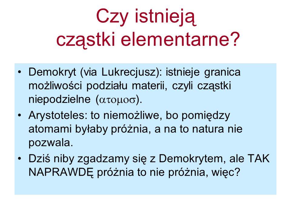 Czy istnieją cząstki elementarne? Demokryt (via Lukrecjusz): istnieje granica możliwości podziału materii, czyli cząstki niepodzielne ( ). Arystoteles
