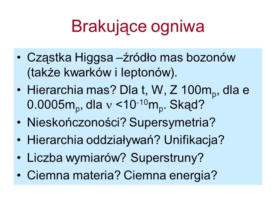 Brakujące ogniwa Cząstka Higgsa –źródło mas bozonów (także kwarków i leptonów). Hierarchia mas? Dla t, W, Z 100m p, dla e 0.0005m p, dla <10 -10 m p.