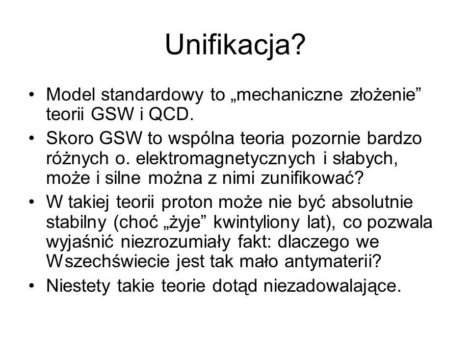 Unifikacja? Model standardowy to mechaniczne złożenie teorii GSW i QCD. Skoro GSW to wspólna teoria pozornie bardzo różnych o. elektromagnetycznych i