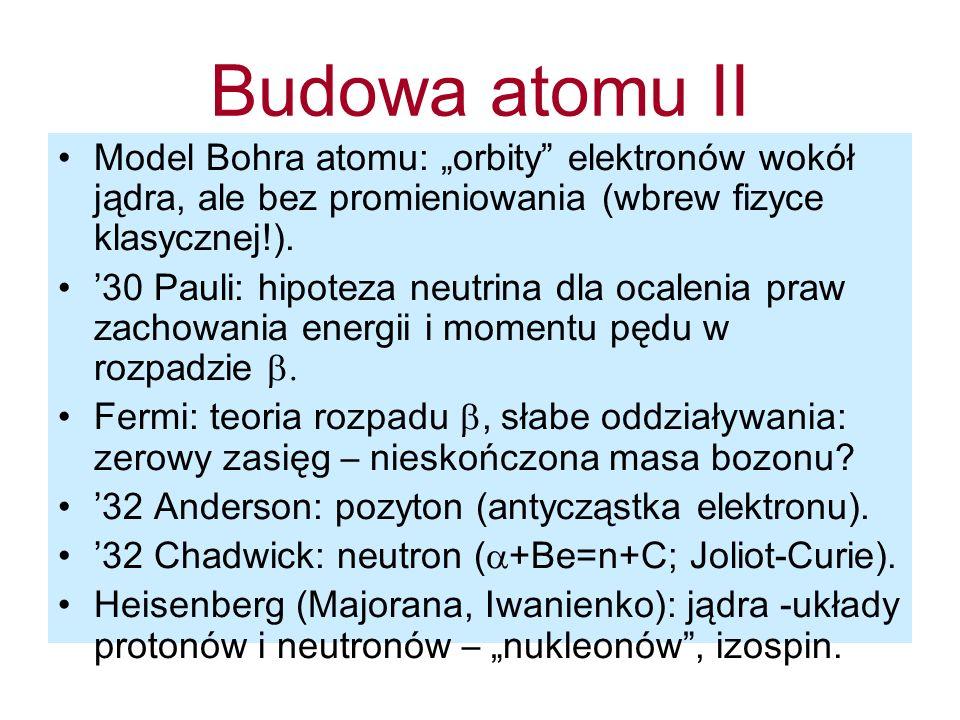 Nagrody Nobla z fizyki cząstek 1935 J Chadwick: odkrycie neutronu 1936 V Hess: promieniowanie kosmiczne, C Anderson: pozyton 1948 P Blackett: odkrycia w komorze Wilsona 1949 H Yukawa: teoria mezonu 1950 C Powell: emulsja jądrowa, odkrycie...