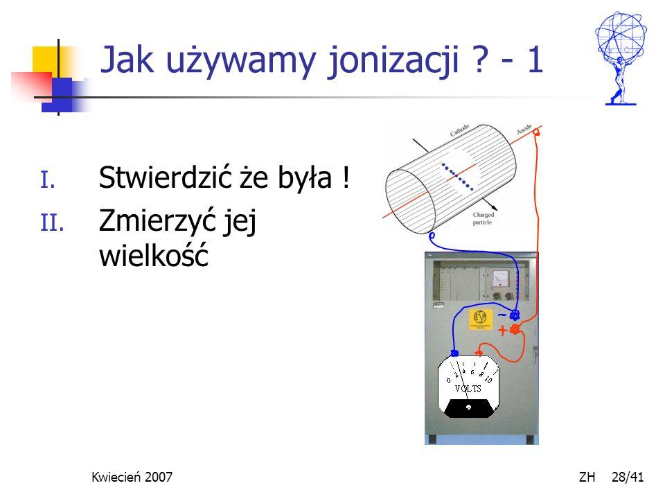 Kwiecień 2007 ZH 28/41 Jak używamy jonizacji ? - 1 I. Stwierdzić że była ! II. Zmierzyć jej wielkość
