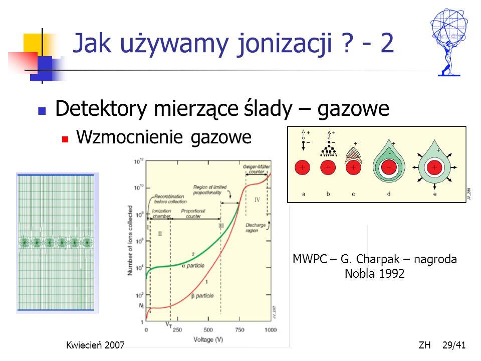 Kwiecień 2007 ZH 29/41 Jak używamy jonizacji ? - 2 Detektory mierzące ślady – gazowe Wzmocnienie gazowe MWPC – G. Charpak – nagroda Nobla 1992
