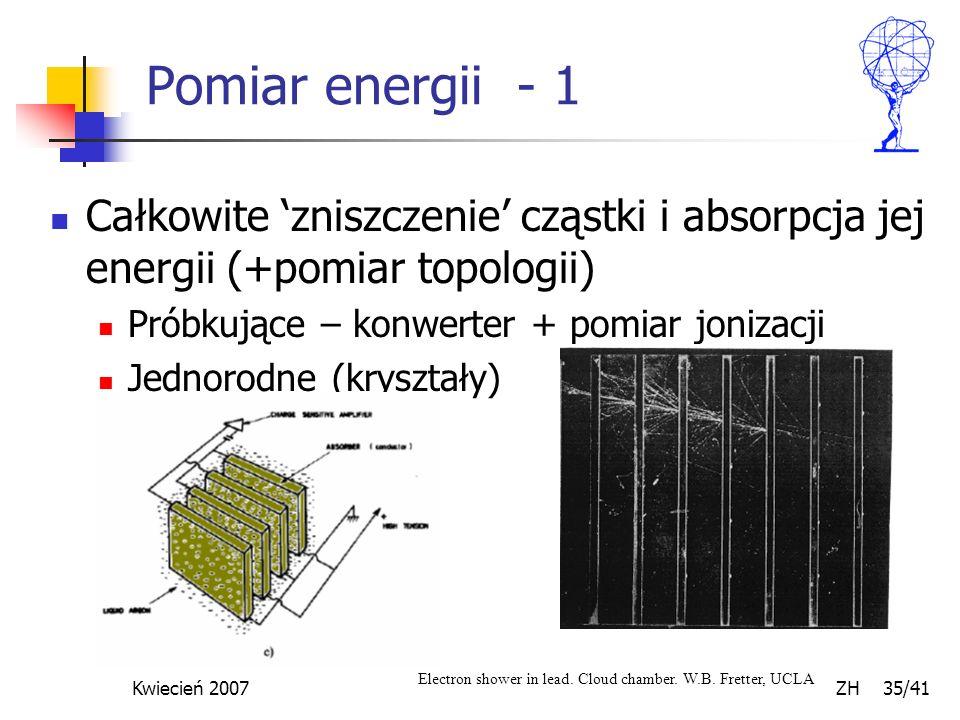 Kwiecień 2007 ZH 35/41 Pomiar energii - 1 Całkowite zniszczenie cząstki i absorpcja jej energii (+pomiar topologii) Próbkujące – konwerter + pomiar jo