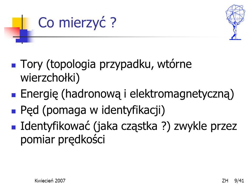 Kwiecień 2007 ZH 9/41 Co mierzyć ? Tory (topologia przypadku, wtórne wierzchołki) Energię (hadronową i elektromagnetyczną) Pęd (pomaga w identyfikacji